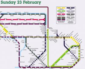 Map of railway engineering works in east Kent 22nd to 24th February 2020