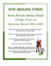 Wye Ground Force Poster Great British Spring Clean event in Wye 28th March 2020