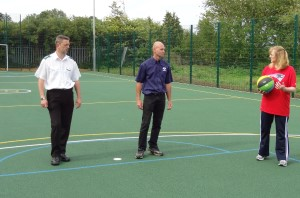 Wye MUGA on opening day July 2014 with Jo Rall, Richard Sinden and Cllr Noel Ovenden
