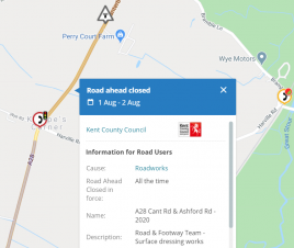 Road closure notice for the A28 between Kempes Corner and Chilham