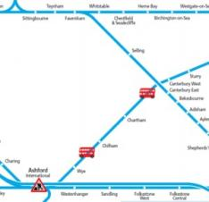 Map of Southeastern replacement bus services to Wye Sunday 29th November
