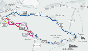 Operation Brock M20 J7 to J9 closure and diversion map December 2020 to test the M20 moveable barrier