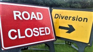 Wye road closure warning signs