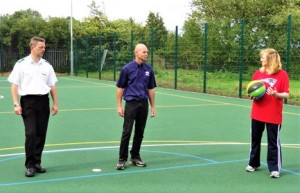 Wye MUGA launch day 2014 Richard Sinden, Noel Ovenden, Jo Rall