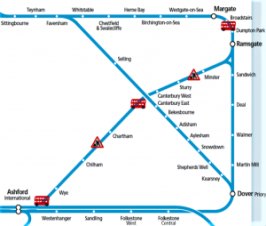 Map of Southeastern rail replacement bus services to Wye Sunday 11th April