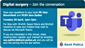 Kent Police notice of a Digital Surgery Tuesday 20th April 2021