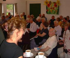Parishioners gathered for questions and answers (and tea) at a parish meeting