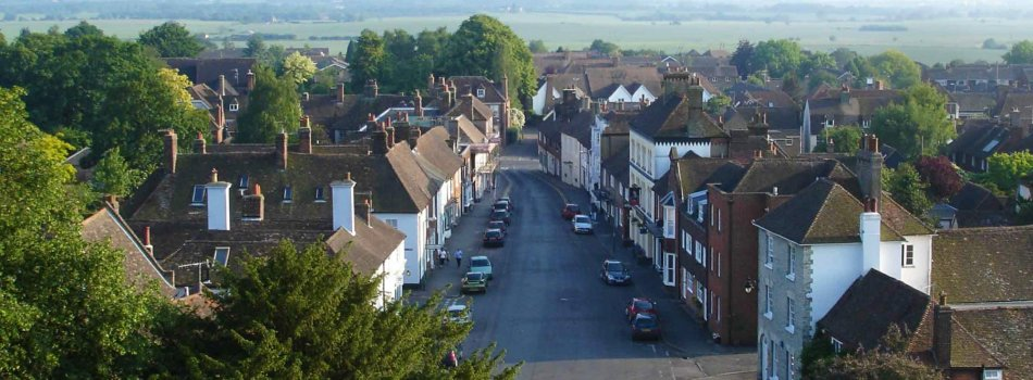 The view from Wye church tower looking south along Church Street