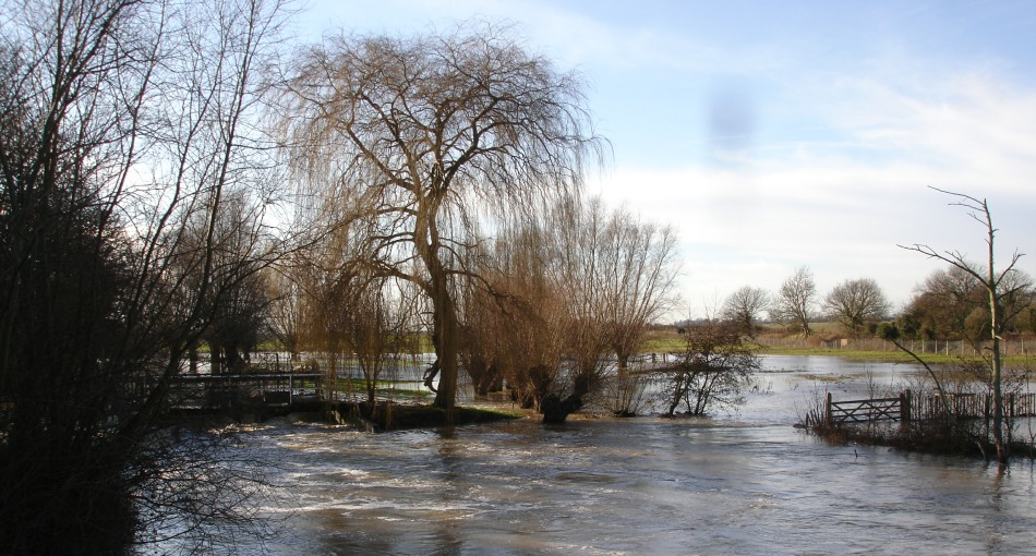 River Stour in flood at Wye. Surface water flooding is unpredictable and a much bigger problem for Wye