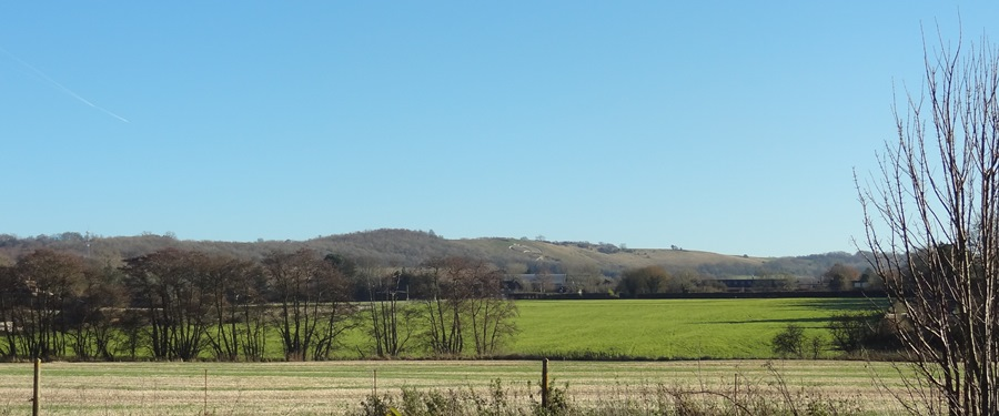Wye Crown in winter: a view of Wye Crown and the AONB landscape seen from the former Goods Yard