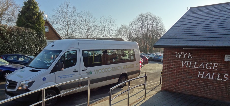 The 'Woodchurch Wagon' is a 16 seat minibus seen here leaving Wye Village Hall with Community Lunch members on board, on their way home to Brook and Hastingleigh.
