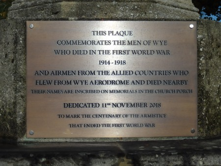 The new plaque placed on the Wye War Memorial to commemorate the centenary of the Armistice at the end of the First World War
